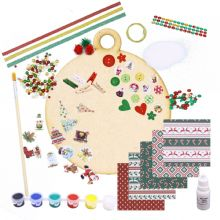 Christmas Shape Decorating Kit Fun Craft Wood Hanging Bauble DIY Complete Set